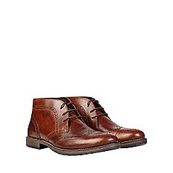 Burton - Tan leather brogue chukka boots