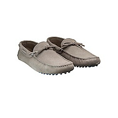 Burton - Grey leather driving loafers