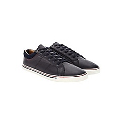 Burton - Navy leather look trainers