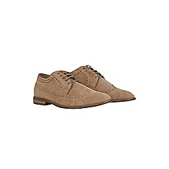 Burton - Beige suede look brogue shoes