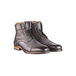 Burton - Black leather military boots