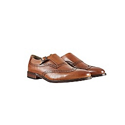 Burton - Brown leather brogue monk shoes