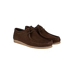 Burton - Brown suede apron lace up boots