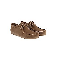 Burton - Beige suede apron lace up boots