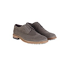 Burton - Grey leather brogue shoes
