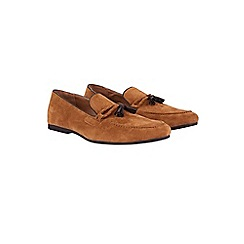 Burton - Tan suede look tassel loafers
