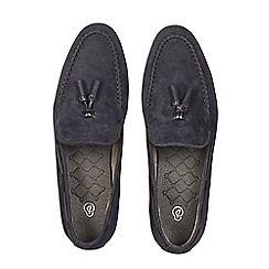 Burton - Navy suede look tassel loafers