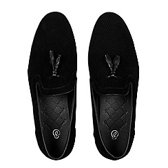 Burton - Black suede look tassel loafers