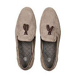Burton - Grey suede look tassel loafers