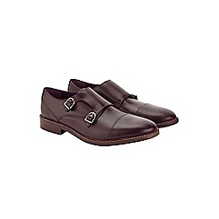 Burton - Burgundy leather monk shoes