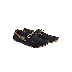 Burton - Navy leather driving loafers