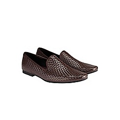 Burton - Brown weave detail loafers*