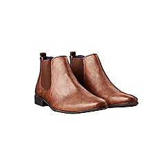 Burton - Brown leather look chelsea boots
