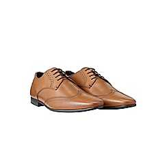 Burton - Tan leather wingcap shoes