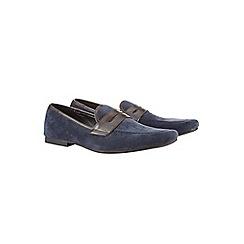 Burton - Navy saddle loafer