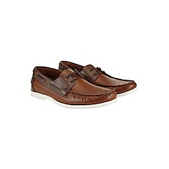 Burton - Tan leather boat shoes