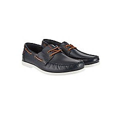 Burton - Navy leather boat shoes