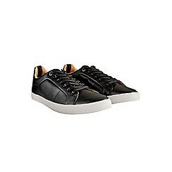 Burton - Black leather look trainers