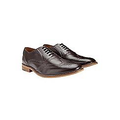Burton - Burgundy leather brogue shoes