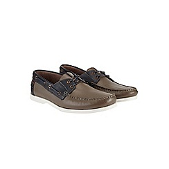 Burton - Grey leather boat shoes