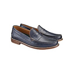 Burton - Navy leather loafers