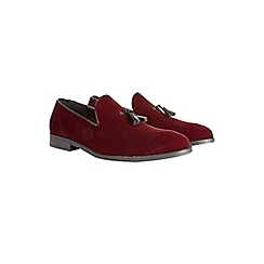 Burton - Burgundy velvet tassel loafers