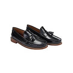 Burton - Black leather tassel loafers