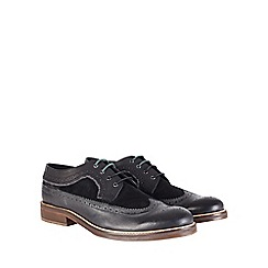 Burton - Racing green branded black leather brogue shoes