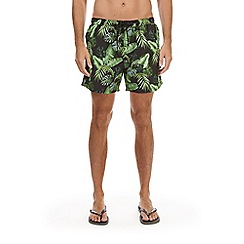 Burton - Black and green floral swim shorts