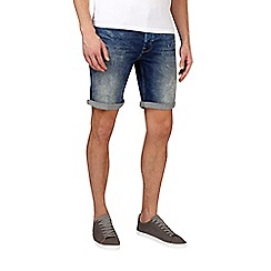 Burton - Mid blue stretch rip and repair denim shorts