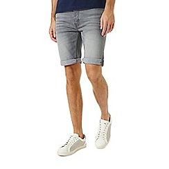 Burton - Grey wash stretch denim shorts