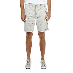 Burton - Stone palm print chino shorts