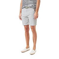 Burton - Stone belted linen shorts