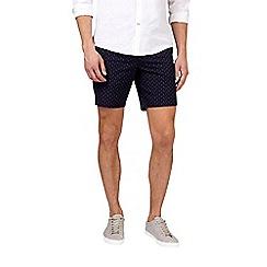 Burton - Navy printed belted shorts