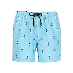 Burton - Light blue palm print swim shorts