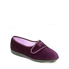 Freestep - Plum velour ladies slipper