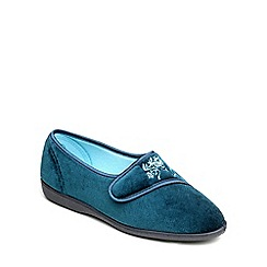 Freestep - Teal velour ladies slipper
