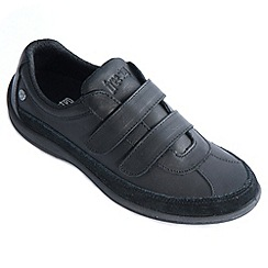 Freestep - Black 'azalea' ladies shoe with rip tape fastening