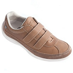 Freestep - Tan 'azalea' ladies shoe with rip tape fastening