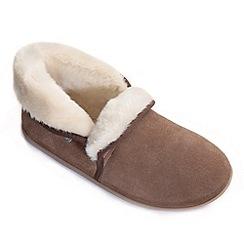 Freestep - Tan suede ladies full slipper