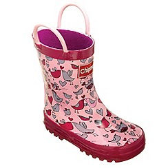 Chipmunks - Girls pink lovebirds pattern wellingtons