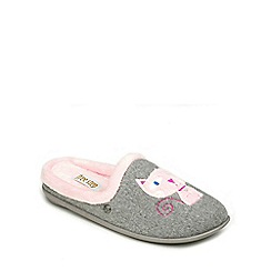 Freestep - Light Grey textile ladies (EEE) slipper