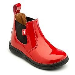 Chipmunks - Girls red patent leather Cheslea boots