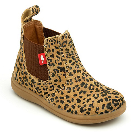 Chipmunks Girls leopard print suede Chelsea boots