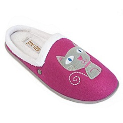 Freestep - Cerise cat motif ladies slipper