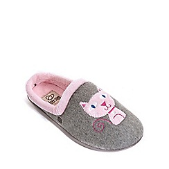 Freestep - Grey cat motif ladies slipper