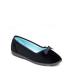 Freestep - Navy velour ladies slipper
