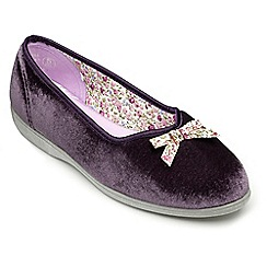 Freestep - Purple velour ladies slipper