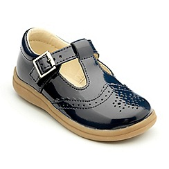 Chipmunks - Girls navy patent leather Eva shoes