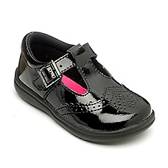 Chipmunks - Girls Eva black leather shoe